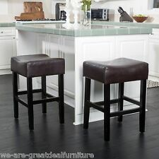 Set of 2 Contemporary Brown Leather Backless Counter Stool