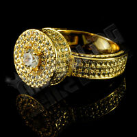 18K Gold Plated ICED OUT CANARY Simulated Diamond Band MICROPAVE Mens Ring