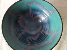 ART POTTERY BOWL by NATALIE WARRENS SOUTHWEST WOLF MOTIF TEAL BLUE MAUVE c.1990