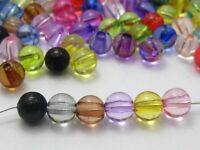 500 Mixed Colour Transparent Acrylic Round Beads 6mm Smooth Ball Spacer