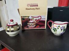 Oneida Kitchen Strawberry Plaid Covered Sugar and Creamer Set