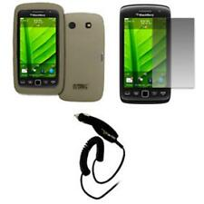 for BlackBerry Torch 9850 Case Silicone Skin Smoke+Screen Protector+Car Charger