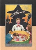 WITCH, BLACK CAT, CHILDREN BOB FOR APPLES On Vintage 1910 HALLOWEEN Postcard