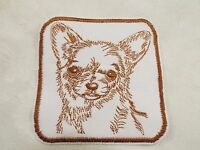 """White Brown CHIHUAHUA Dog 3-3/4"""" Embroidery Iron-on Custom Patch (E6)"""