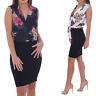 Womens Sleeveless Floral V Neck Wrap Bodycon Dress Skirt Blazer Collars Midi