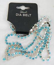 Sky Blue Crystal Diamante Belt - BNIB