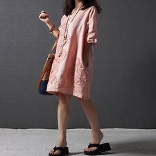 Women  A-line Maxi Dress Half Sleeve Loose Cotton Linen Summer Dresses Plus Size