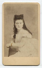 CDV PORTRAIT OF WOMAN WITH WILD CURLS, RICHLY TINTED. GERMANY.