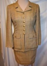 Rena Lange Silk Tweed Plaid Fitted Upscale Military Skirt Suit Florentine Gold-6