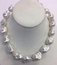 "Baroque Freshwater Pearls. 20mm. 17"". Silver Clasp"