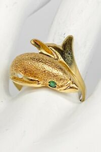 Designer $2000 Colombian Emerald 14k Yellow Gold DOLPHIN Band Ring 5g
