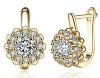 Blossoing Flower Latchback Earring Made with Swarovski Crystals in 18K Gold
