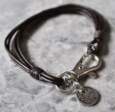 Real Leather Wristband Bracelet with Rhodium Plt Aunt Charm Ladies Gift