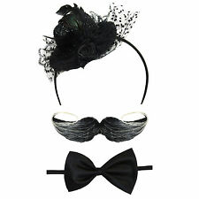 Señoras Steampunk Fancy Dress Costume Set (Sombrero diadema, Pajarita, bigote)