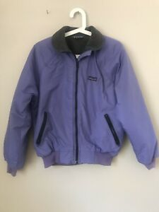VTG Patagonia Bomber Lavender Jacket Fleece Lined USA MADE Youth 9/10 Womens S