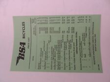 USED 1964 VINTAGE BSA BICYCLE PRICE LIST