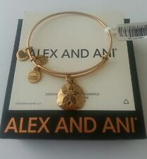 Alex and Ani Sand Dollar Charm Bangle Bracelet BOX New/Tags Rafaelian Gold