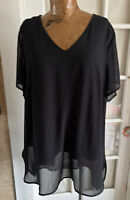 Vince Camuto Layered Sheer layered Tunic V Neck Blouse Plus Size 1x