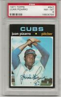 SET BREAK -1971 TOPPS # 647 JUAN PIZARRO, PSA 8 NM-MT, CHICAGO CUBS, TOUGH, L@@K
