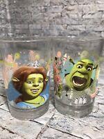 2007 Dreamworks McDonald's Shrek The Third Set of 2 Drinking Glass Tumblers Cups
