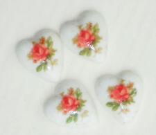 Vintage Heart Cabochon Limoges pink  Rose Floral Cabs Flowers bouquet NOS #1058B