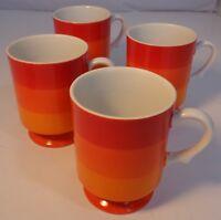 Vintage Holt Howard Mugs FOUR 1966 Orange Striped Cups Japan Yellow White