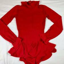 Vintage 70s 80s Ice Skating Leotard Adult Women M Red Skirt Costume Dance Leo