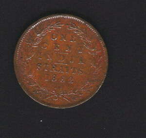 India Straits 1862 One Cent Queen Victoria only year of issue good v/f grade