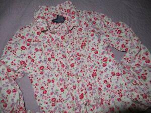 euc Ralph Lauren shabby floral pintuck long sleeve button top girls 5 free ship