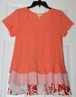 Matilda Jane Women's Sz M Orange Ruffle Hem T shirt top pre owned