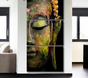 Mural Estampe 3 Pièce Toile Bouddha Peinture Modulaire Image pour Séjour
