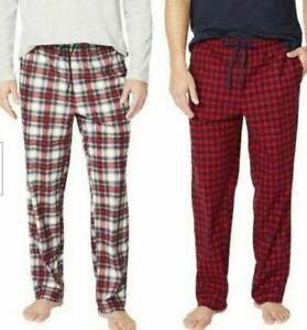 Nautica Mens Sueded Fleece Pajama Pants 2 Pack SMALL Plaid Red Black NEW