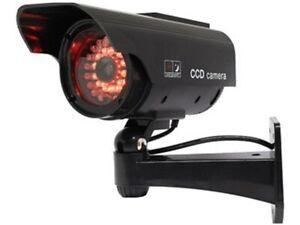 Dummy Security Camera - SOLAR FAKE CCTV CAMERA RED LED POWER LIGHTS - BLK