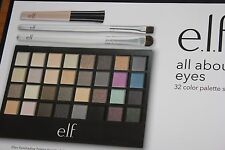 elf ALL ABOUT EYES 32 Color Eyeshadow Palette SET + FREE EYE/LIP LINER