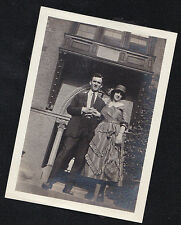 Vintage Antique Photograph Man & Woman in Cool Outfits Standing By College