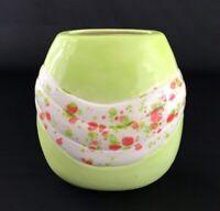 Handmade Vintage Mid Century Mod Bud Vase Ceramic Pottery Lime Orange Splatter