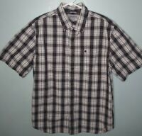 Carhartt Button Down Shirt Mens Short Sleeve Relaxed Fit Plaid Size Large