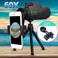 40X60 Zoom Monocular Telescope Telephoto Phone Camera Lens Tripod Selfie Kit NEW