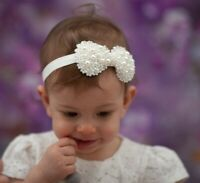 Baby Girl Bow Headband Hairband Elastic Stretchy Wedding Christening Pearl Ivory