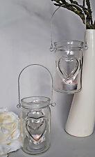 ❀ 2 x Hängewindlicht Teelichthalter zum Hängen Herz Teelichtglas Klar Glas #86