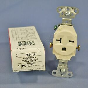 New P&S Lt Almond COMMERCIAL Single Outlet Receptacle NEMA 6-20 20A 250V 5851-LA