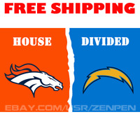Denver Broncos vs Los Angeles Chargers House Divided Flag Banner 3x5 ft 2019 NEW