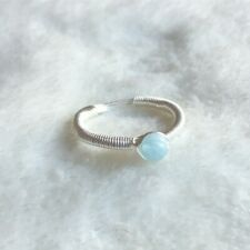 Aquamarine Sterling Silver Wire Wrap Ring Simple Tiny March Birthstone Size R