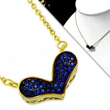 Damen Edelstahl Halskette Kette Gold Kettenanhänger Herz Blaue Kristalle