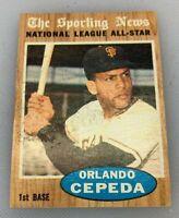 1962 Topps # 390 Orlando Cepeda Sporting News All Star San Francisco Giants HOF
