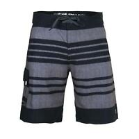Beautiful Giant Men's Striped Beach Swimwear Pocket Swim Board Shorts Black Grey