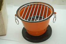 VINTAGE HIBACHI GRILL ORANGE ENAMEL NEW BOX JAPAN MINIATURE TABLE TOP INDIVIDUAL