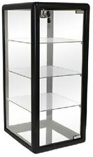 GLASS COUNTERTOP DISPLAY CASE BLACK SHOWCASE KEY LOCK (3) SHELF