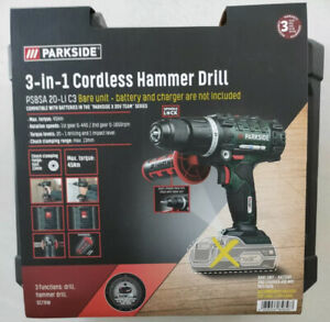 PARKSIDE 20V CORDLESS IMPACT DRIVER HAMMER DRILL 3 IN 1 BARE UNIT ONLY 2021