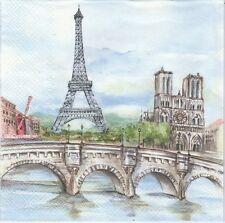 2 Serviettes en papier Paris Notre Dame Tour Eiffel Decoupage Paper Napkins